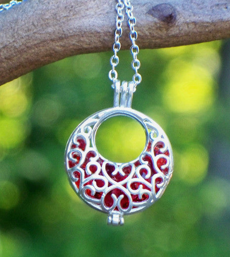 Ruby and Silver Filigree Hoop Necklace - Recycled Glass