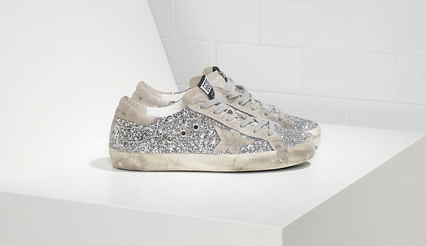 Golden Goose Silver All-Over Glitter Superstar Sneakers