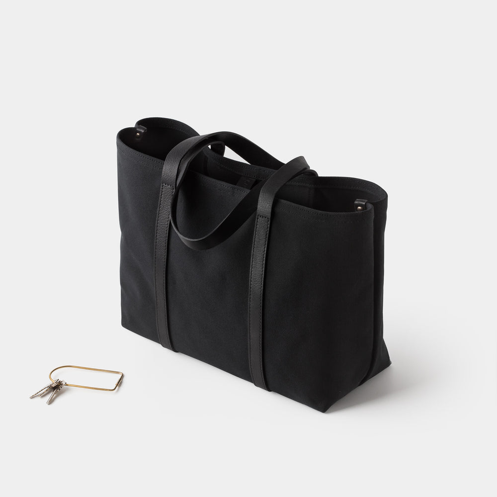 Cano Leather Handle Tote Black angle