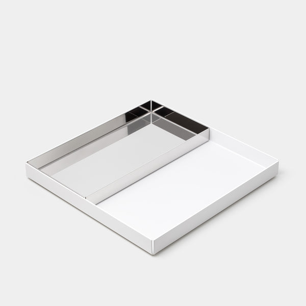 E15 Ito Tray Large White with Small Stainless Steel