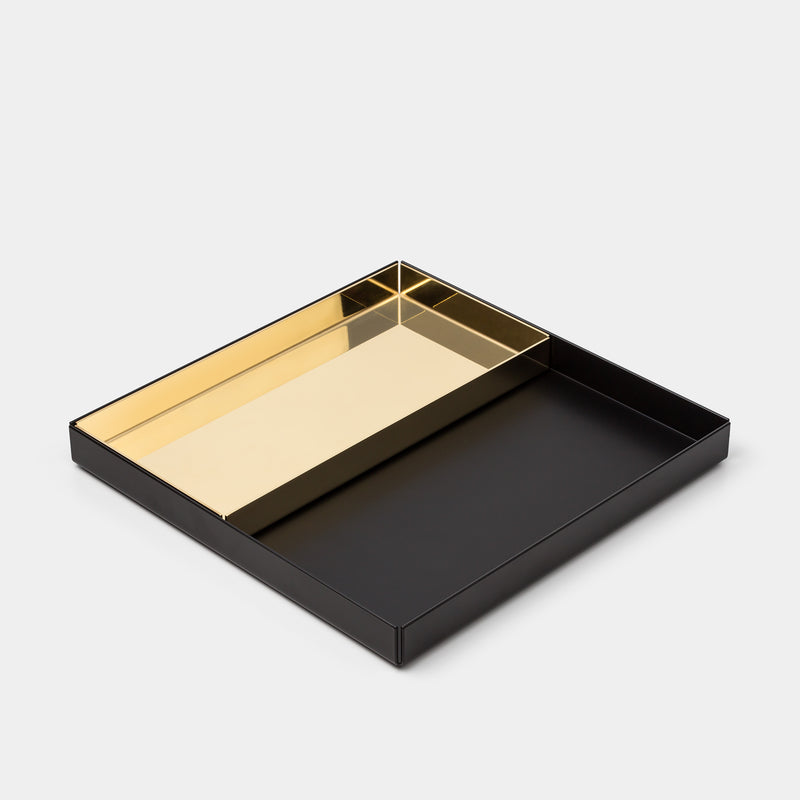 E15 Ito Tray Large Black with Small Brass