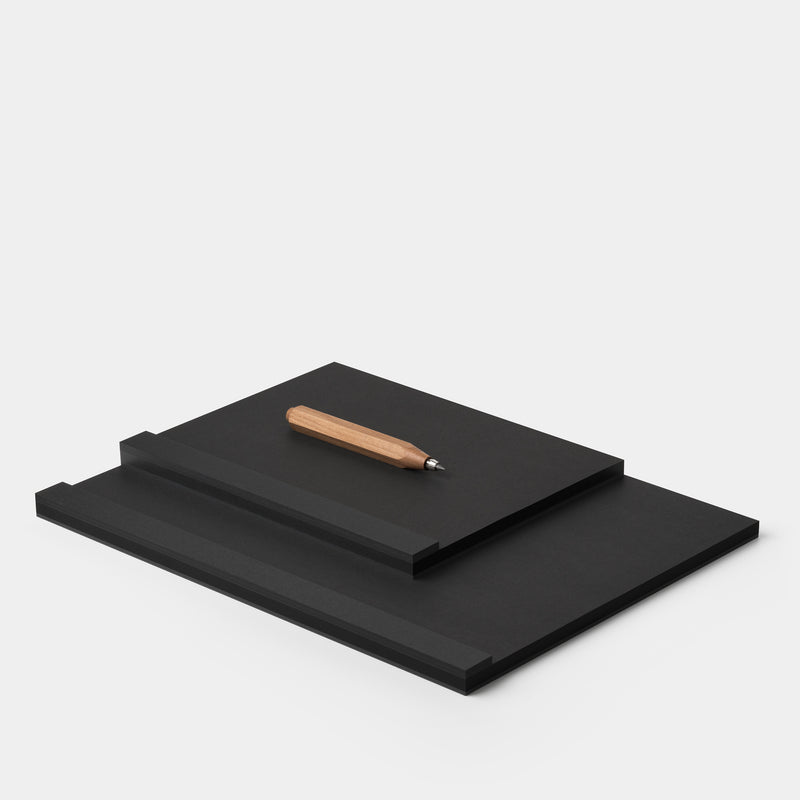 Ito Bindery Drawing Pad Black Medium A5 and Large A4 with Wörther Pencil angle