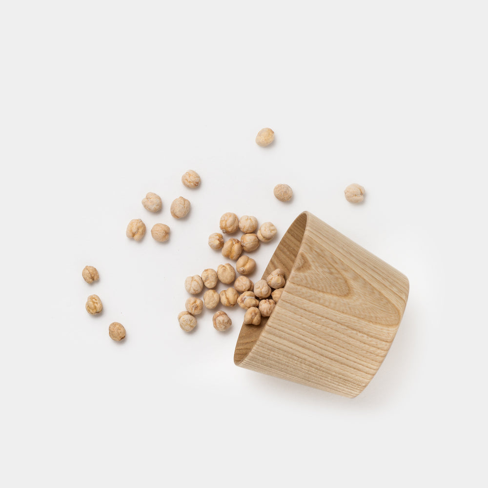 Kami Wood Cup Bowl with chickpeas