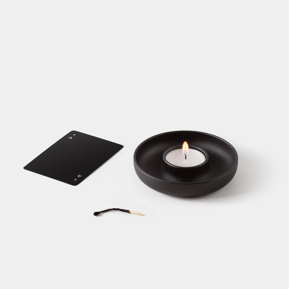 Minim Playing Cards with No30 Saucer Candle Tea Light Holder