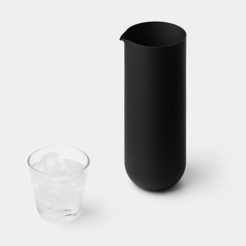 Sugahara Matte Black Glass Pitcher - angle