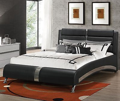 Black Modern King Jeremaine Upholstered Bed with Metallic Accents