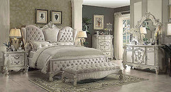 Versailles Ivory Velvet  6Pc Queen Bedroom Set By Acme 21130Q  +Bench