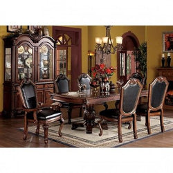 Chateau de Ville Formal Cherry Dining Room with Leatherette Chairs