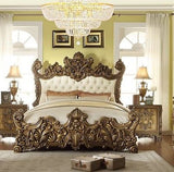 HD-8008 LUXURY GOLDEN ROYAL PALACE 5 PC QUEEN  BEDROOM SET