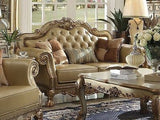 ACME 6 PIECE DRESDEN WOOD TRIM GOLD PATINA  LIVING ROOM SET