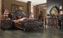 Versailles Cherry / 2 Tone dark Brown PU 4 Pc King Bedroom Set By Acme 21117EK