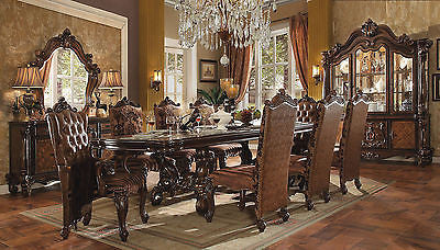 VERSAILLES DINING SET IN  CHERRY OAK FINISH 9 PIECE SET