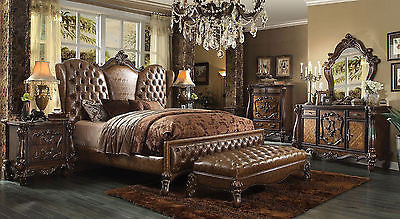 VersaillesCherry/ Tone light Brown  5Pc King Bedroom Set By Acme 21097EK +Bench