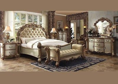 Vendome King 4 Piece Bedroom Set in Gold Patina Finish by Acme 22997EK-