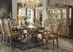 FORMAL DINING TABLE DOUBLE PEDESTAL GOLD FINISH DRESDEN 9 PIECE SET