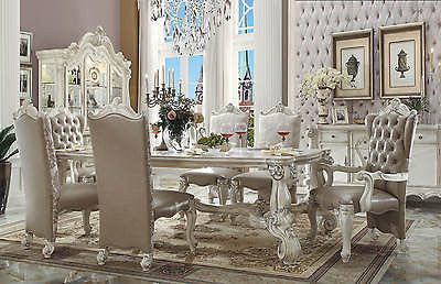 "VERSAILLES DINING SET IN BONE WHITE FINISH 9 PIECE SET 96""L"
