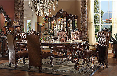 "VERSAILLES DINING SET IN  CHERRY OAK FINISH 7 PIECE SET 96""L"
