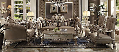 ACME 2 PIECE DRESDEN BONE VELVET GOLD PATINA LIVING ROOM SET