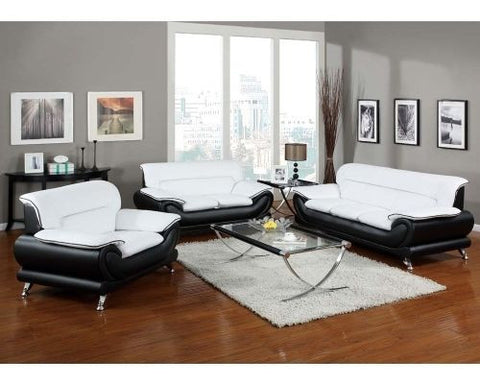 Orel White Black Leather 3Pc Living Room Set By Acme