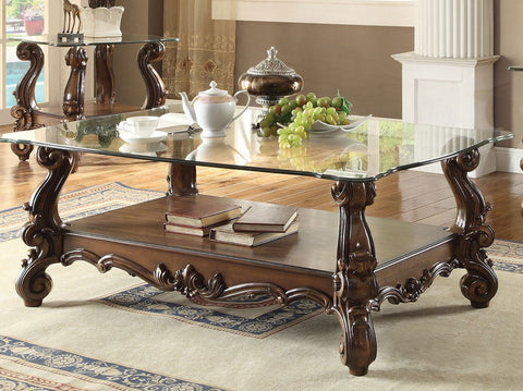 ACME VERSAILLES GLASS TOP COFFEE TABLE CHERRY OAK FINISH 82100