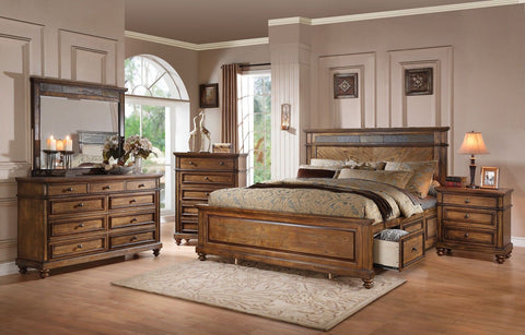 Arielle Oak Finish Slate Storage Bed Queen Bedroom Set 5 pc. + Free Shipping