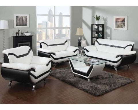 Rozene White Black Leather 2Pc Living Room Set By Acme