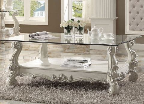 ACME VERSAILLES GLASS TOP COFFEE TABLE BONE WHITE FINISH