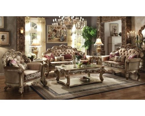 Acme Vendome 3pc Living Room Set in Gold Patina/Bone Fabric