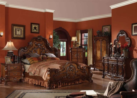 Traditional Cherry Oak Dresden Queen Bed + Free Shipping