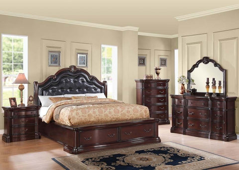 Grand Colonial Veradisia King Bedroom Set 4pc. Marble Top