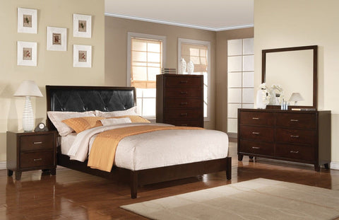 Contemporary Tyler Cappuccino Twin Bedroom Set 4 pc + Free Shipping