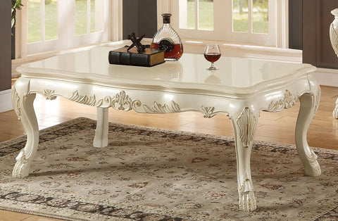 ACME DRESDEN COFFEE TABLE ANTIQUE WHITE FINISH