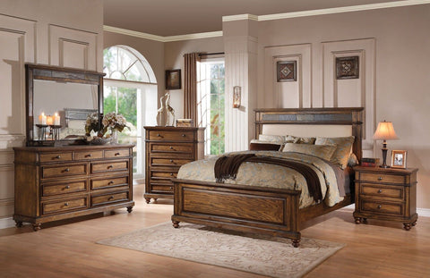 Arielle Oak Finish Slate Bed King Bedroom Set 7 pc. + Free Shipping