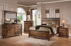 Arielle Oak Finish Slate Queen Bed  + Free Shipping