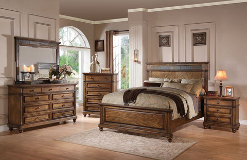 Arielle Oak Finish Slate Bed Queen Bedroom Set 6 pc. + Free Shipping