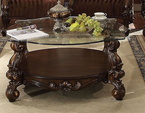ACME VERSAILLES CURL COFFEE TABLE CHERRY OAK FINISH 82080