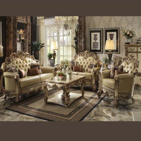 Acme Vendome 2pc Living Room Set in Gold Patina/Bone PU