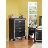 Striking Black Crocodile Elberte Queen Bedroom Set 5 pc. + Free Shipping