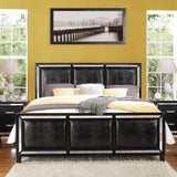 Striking Black Crocodile Elberte King Bed + Free Shipping