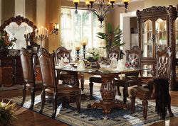 Formal  Traditional Vendome Cherry 7 Pc Double Pedesta  Dining Room set Glass