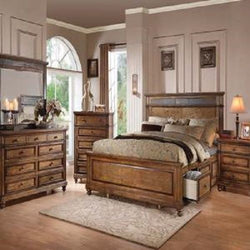 Arielle Oak Finish Slate Storage Bed Queen Bedroom Set 7 pc. + Free Shipping