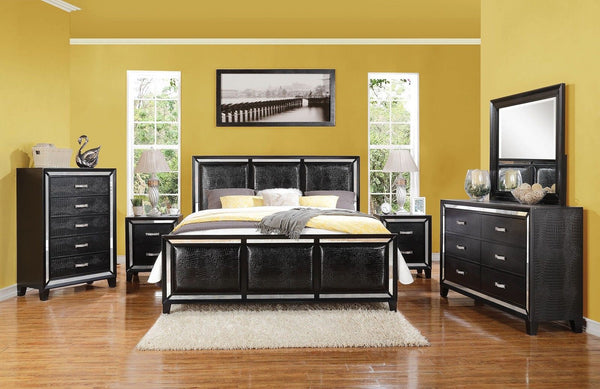 Striking Black Crocodile ElberteQueen Bedroom Set 5 pc. w Chest + Free Shipping