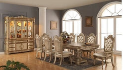 Bethany Formal  Traditional  Gold 9 Pc Double Pedesta  Dining Room set
