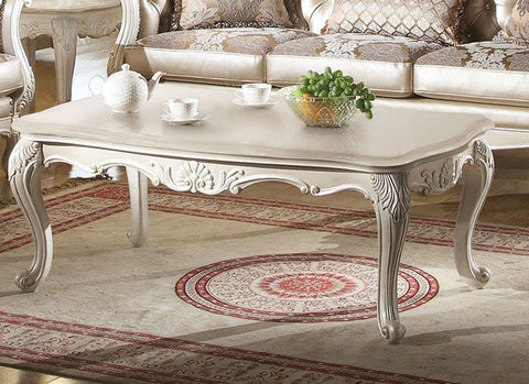 Chantelle Coffee Table- Marble Top Pearl White