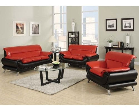 Orel Red Black Leather Sofa Living Room By Acme