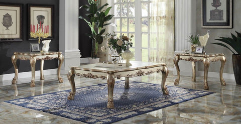 ACME 3 PIECE DRESDEN COFFEE TABLE SET GOLD PATINA FINISH
