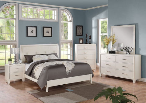 Contemporary Tyler Cream King Bedroom Set 5 pc w Chest + Free Shipping