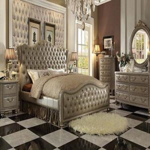Elegant Varada Champagne Gold King Bed + Free Shipping