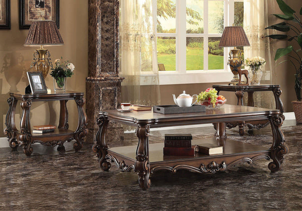 ACME 3 PIECE VERSAILLES COFFEE TABLE SET IN CHERRY OAK FINISH