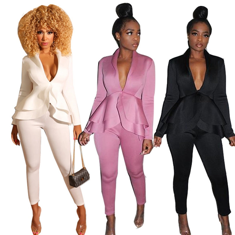 cheaper sale top brands volume large Ruffle Sexy Two Piece Pants Set Women Outfits White Blazer Jacket Top and  Pants Suit Set Elegant 2 Piece Women Suits Office Sets